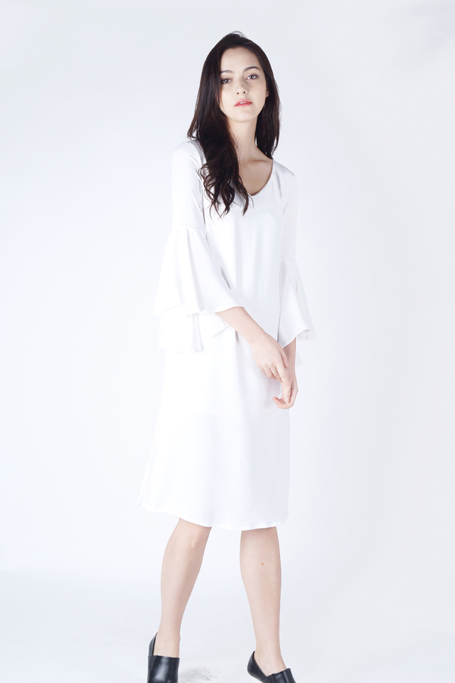 AURORA FLUTTER SLEEVE DRESS WHITE