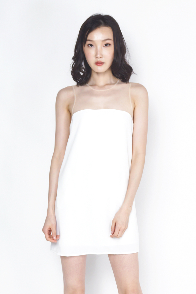 DELIA MESH SHIFT DRESS WHITE