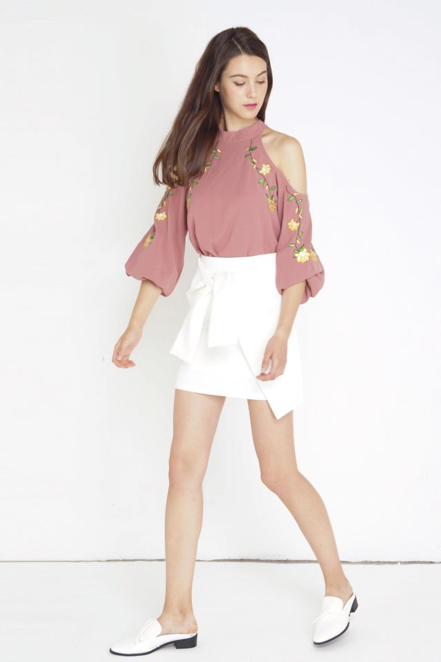 HARA COLD SHOULDER EMBROIDERY TOP ROSE