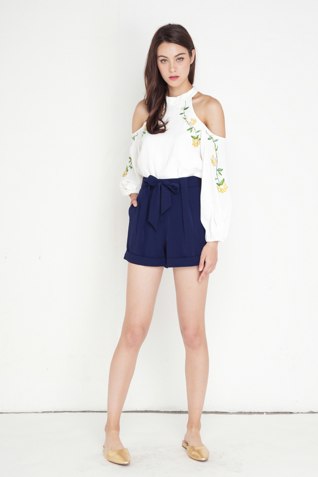 HARA COLD SHOULDER EMBROIDERY TOP WHITE