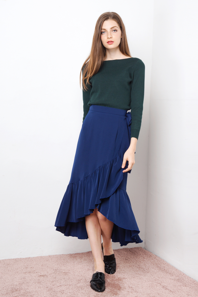 IMOGEN BOW RUFFLES SKIRT NAVY