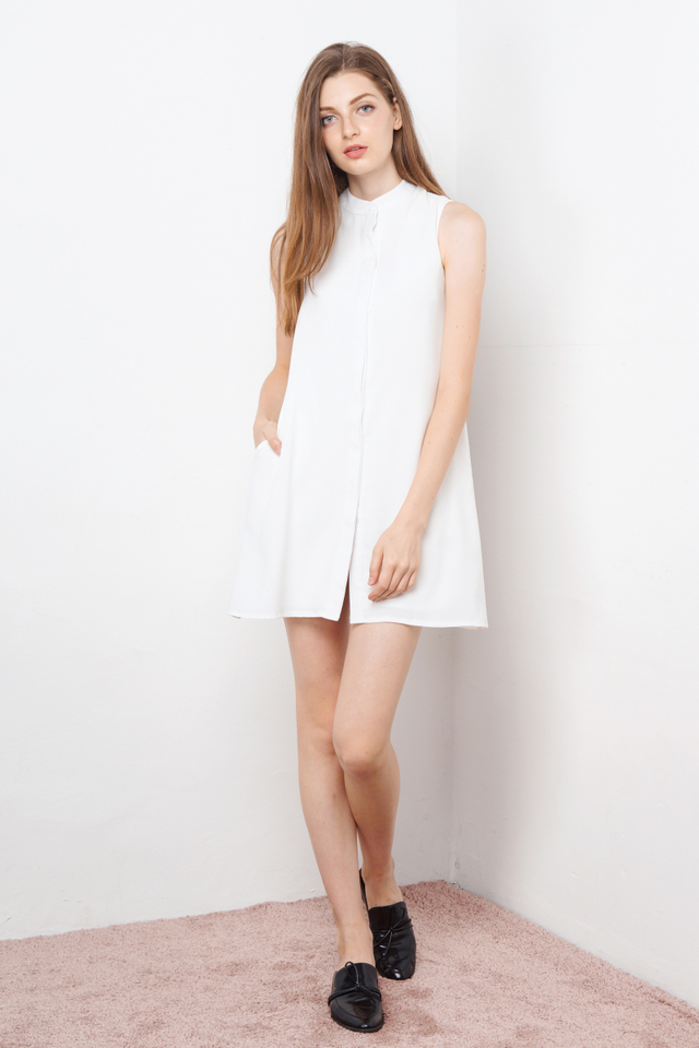 LEXIE BUTTONDOWN SHIRTDRESS WHITE
