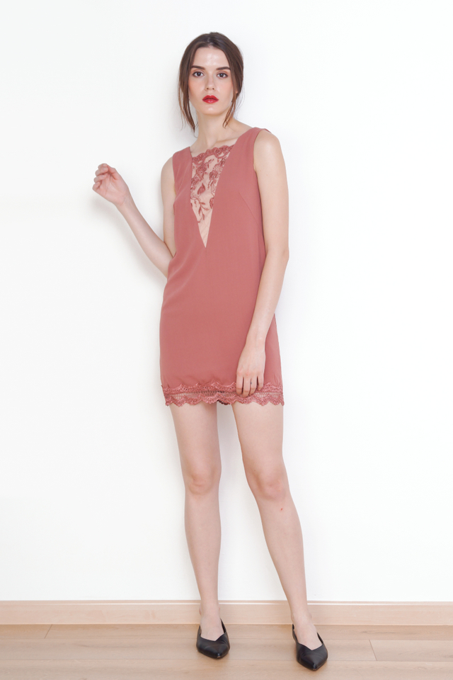 EMMA LACE SHIFT DRESS ROSE