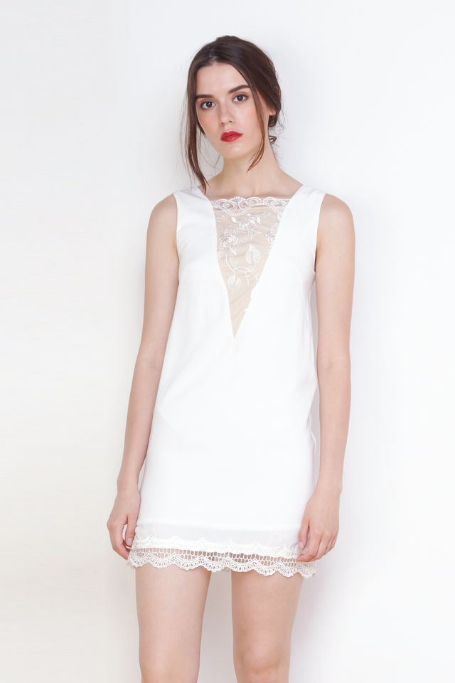 EMMA LACE SHIFT DRESS WHITE