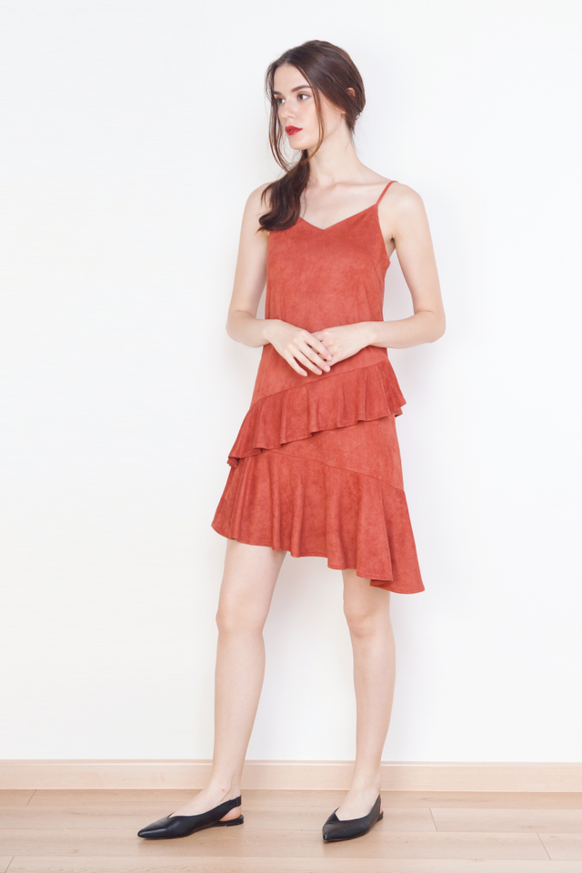 SHANNON SUEDE RUFFLES DRESS RUST
