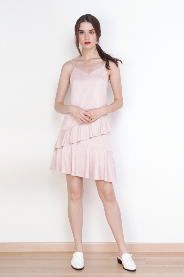 SHANNON SUEDE RUFFLES DRESS PINK
