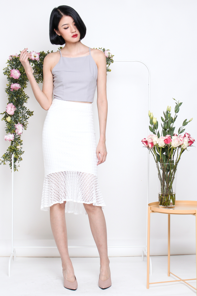 VICTORIA LACE MERMAID SKIRT WHITE