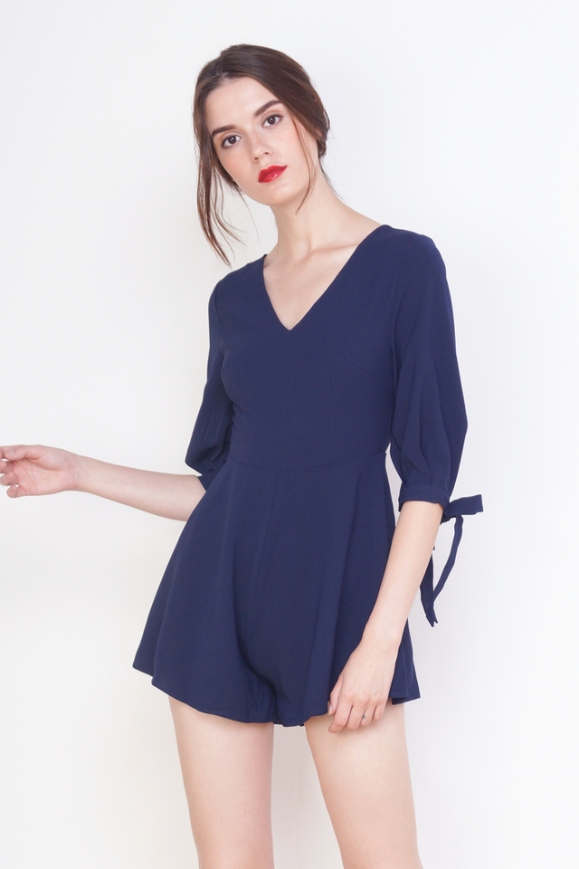 RYLIE RIBBON SLEEVE ROMPER NAVY