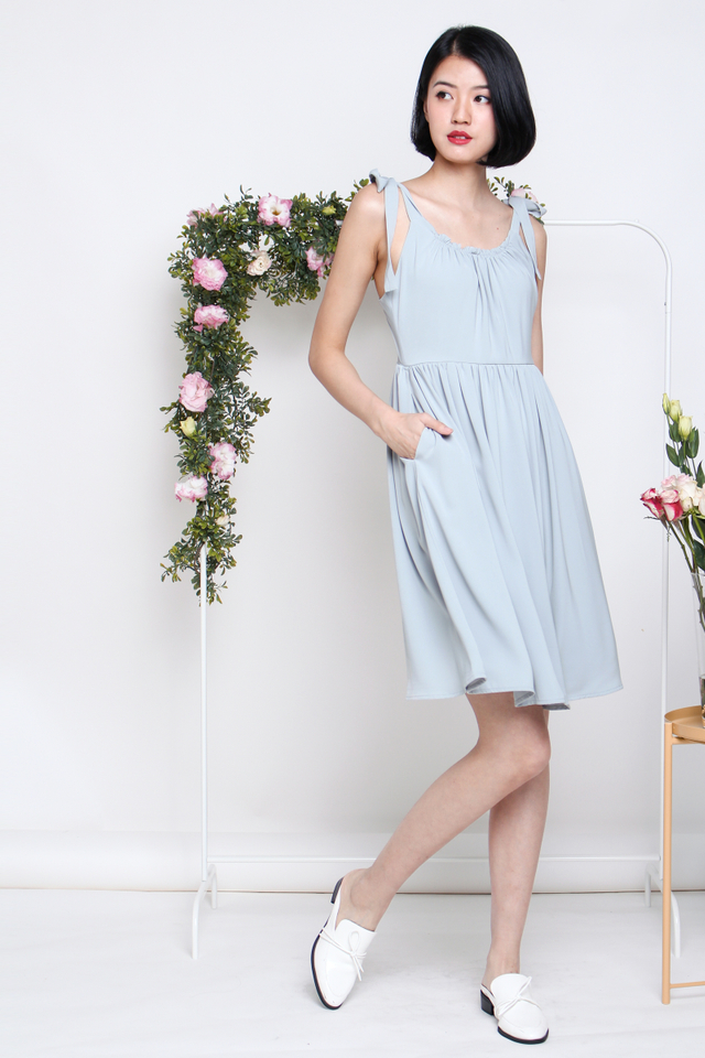 RACHEL TIESHOULDER SWING DRESS SEAFOAM