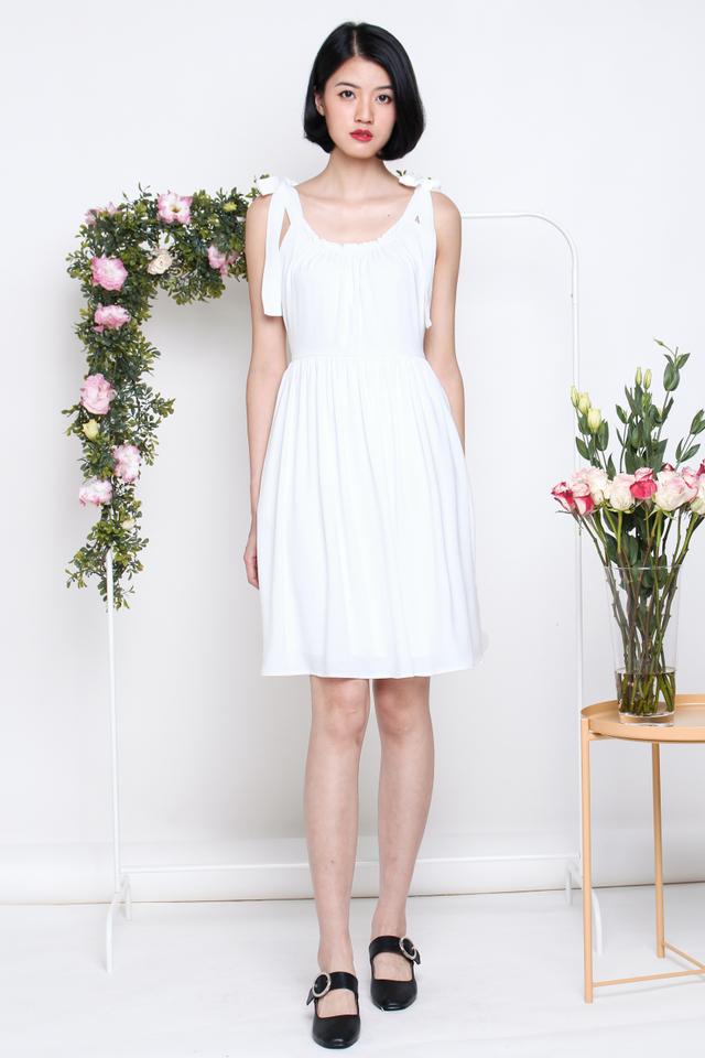 RACHEL TIESHOULDER SWING DRESS WHITE