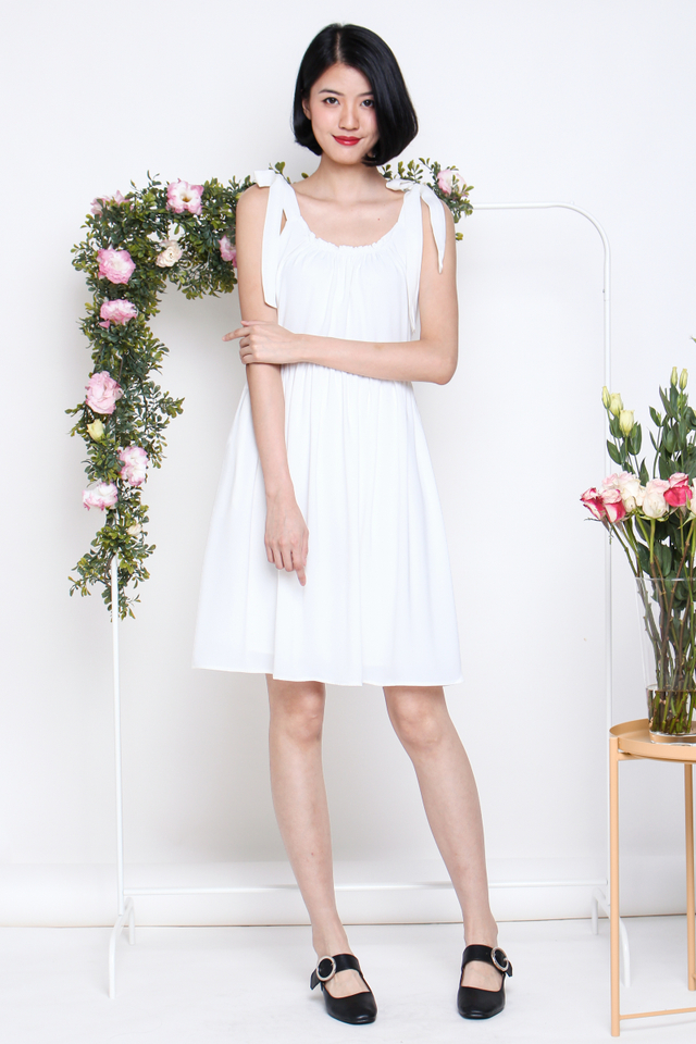 RACHEL TIESHOULDER SWING DRESS WHITE