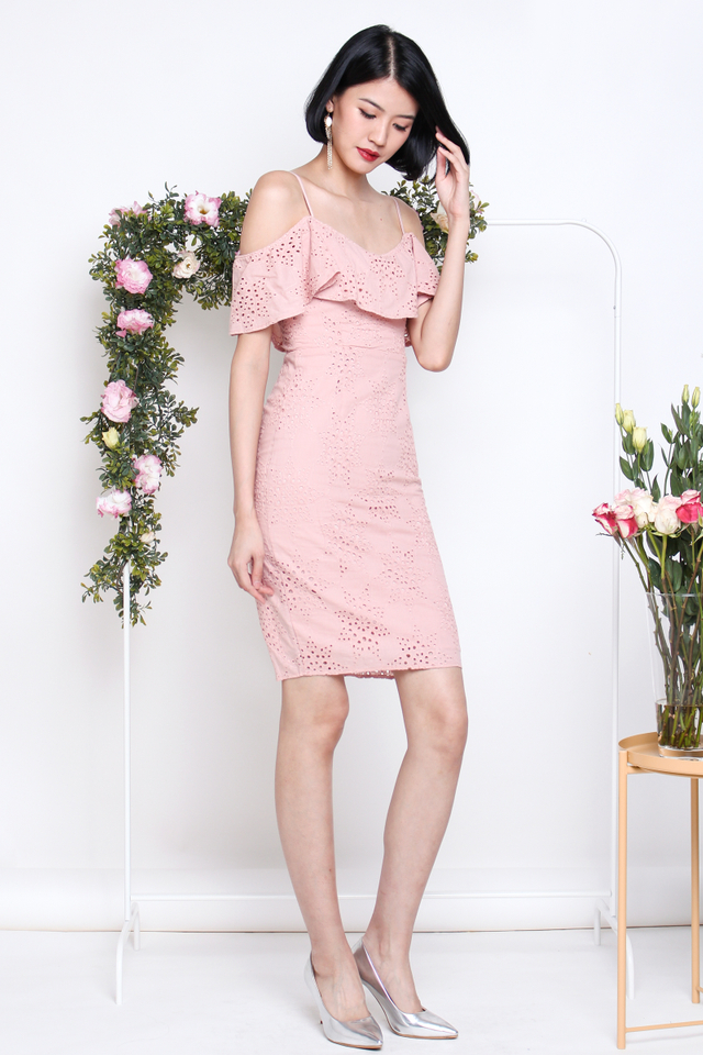 STELLA EYELET OFF SHOULDER DRESS ROSE