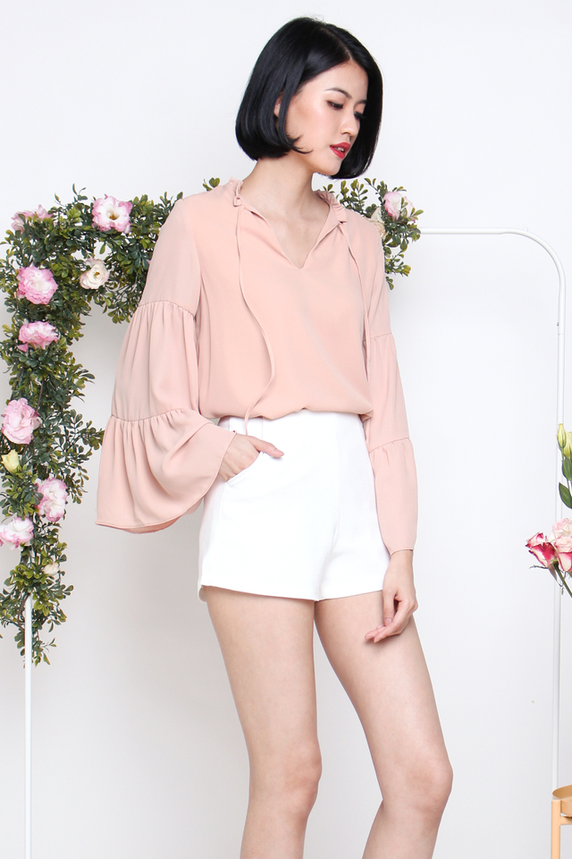 HARPER TIER SLEEVE BLOUSON BLUSH