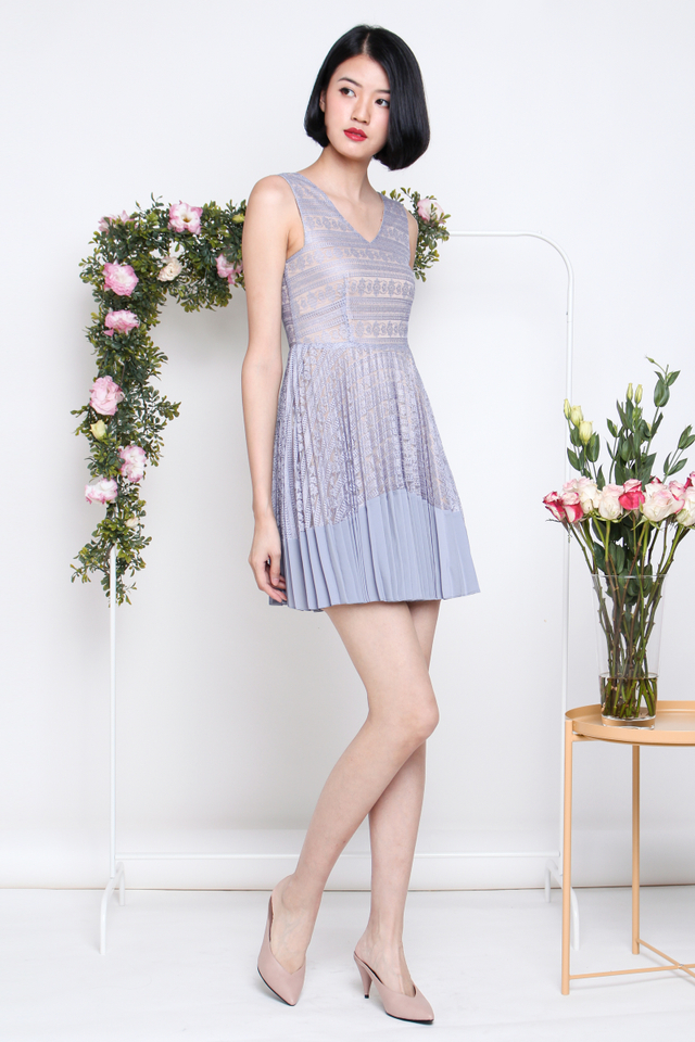 TRICIA LACE PLEAT DRESS LILAC GREY
