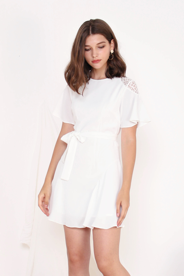 AVIN CROTCHET SLEEVE DRESS WHITE