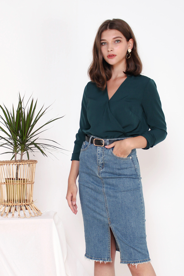 ABBY WRAP TOP  FOREST