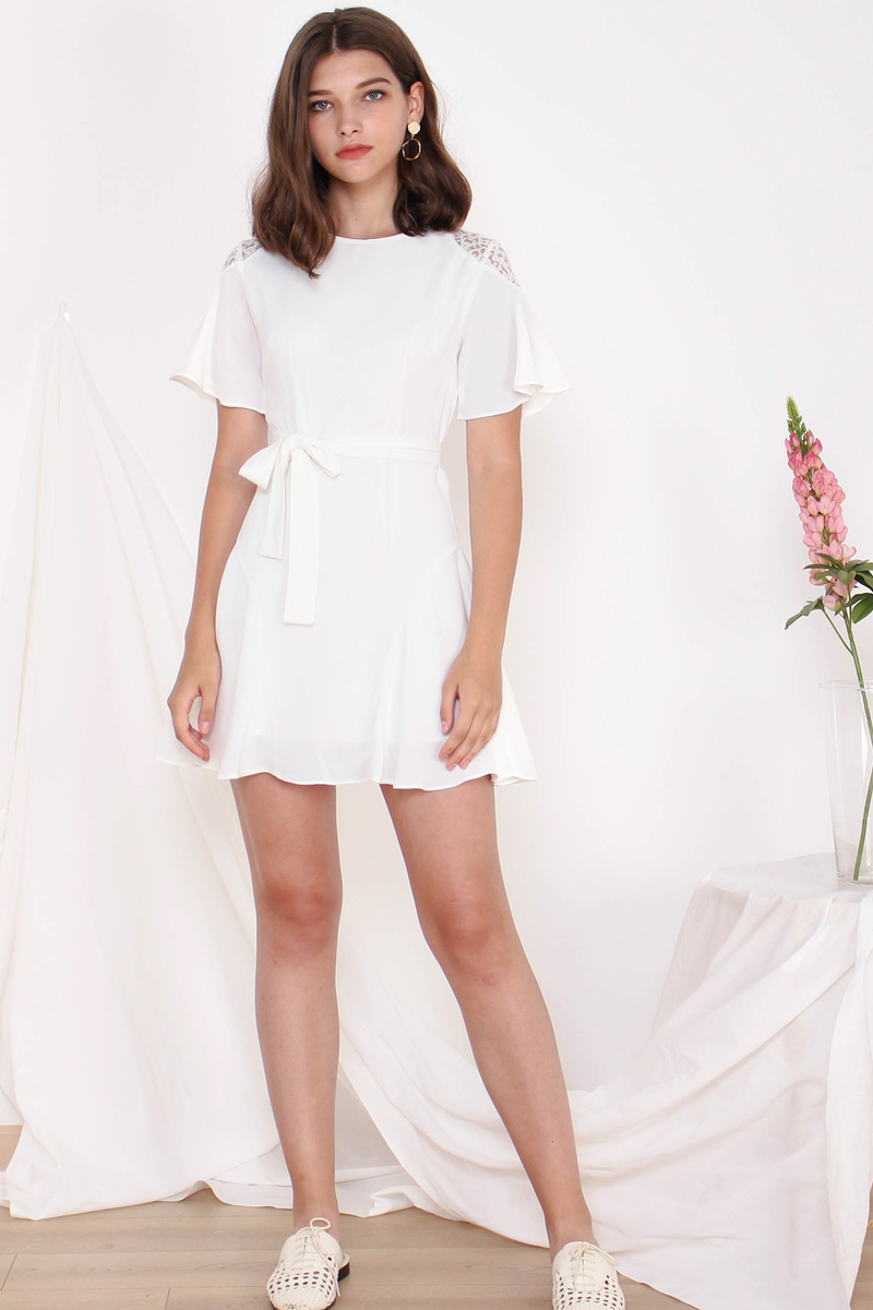 5950e069ebf5 Home · Dresses; AVIN CROTCHET SLEEVE DRESS WHITE. Hover to zoom / click to  view large image