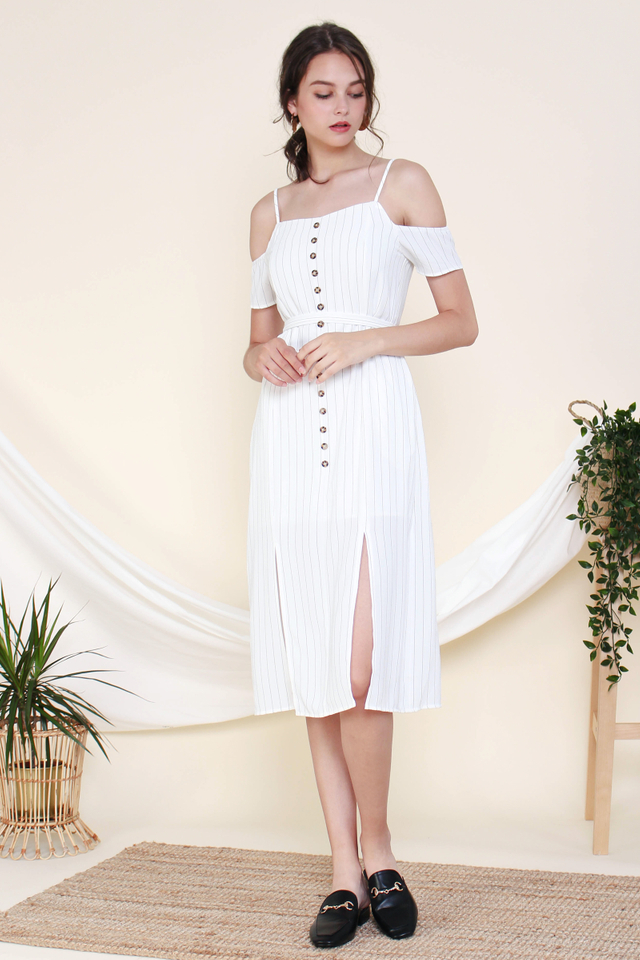 KAIA OFF SHOULDER STRIPED MIDI WHITE