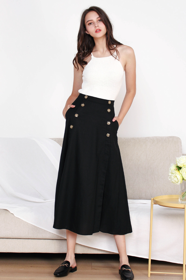 HEIDI SLIT MAXI SKIRT BLACK