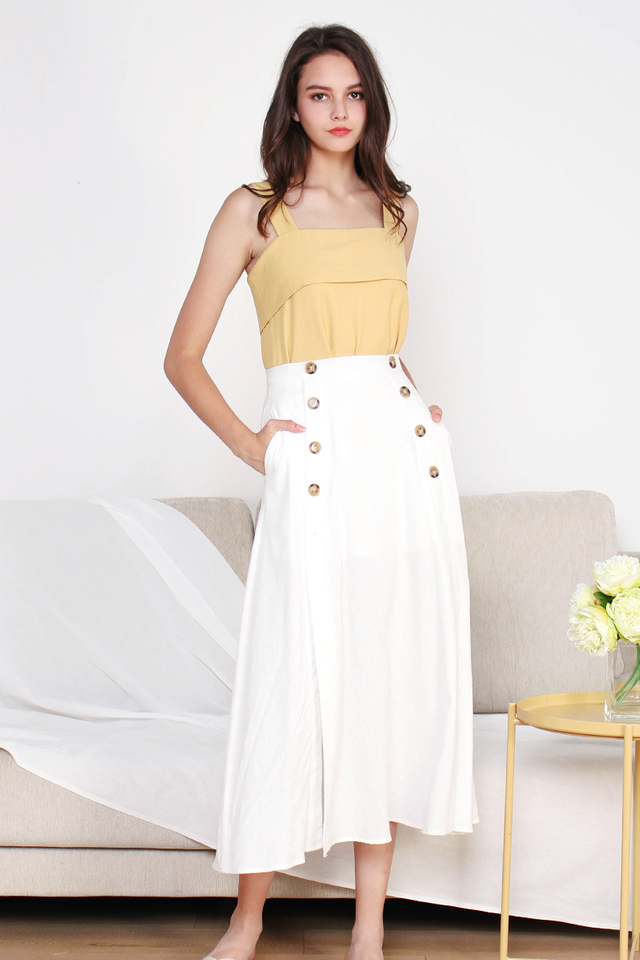 HEIDI SLIT MAXI SKIRT WHITE