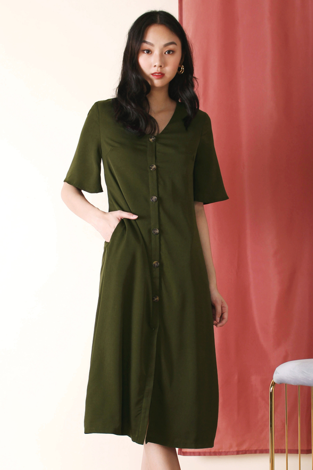 JACINTA ANGEL SLEEVE MIDI DRESS OLIVE