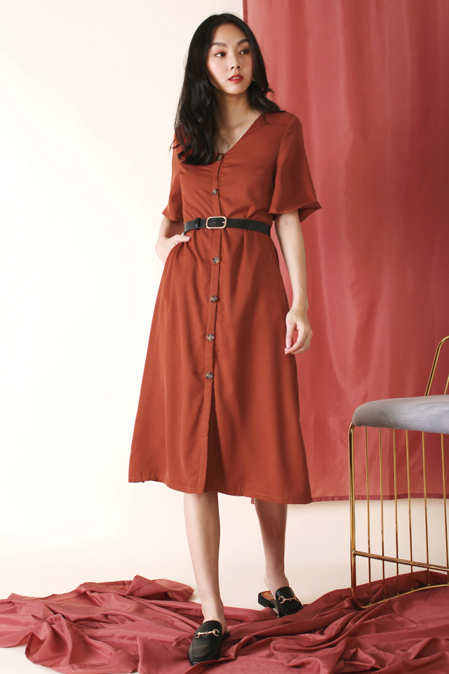 JACINTA ANGEL SLEEVE MIDI DRESS BURNT ORANGE