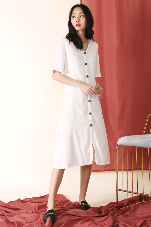 JACINTA ANGEL SLEEVE MIDI DRESS WHITE