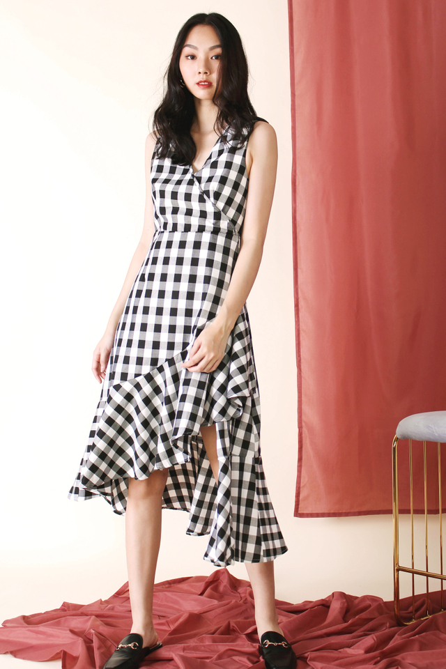JOAN HI-LO RUFFLE MIDI DRESS GINGHAM