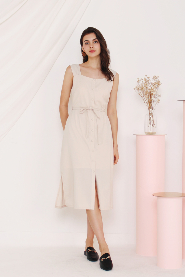 CLAUDINE BUTTON DOWN DRESS ALMOND