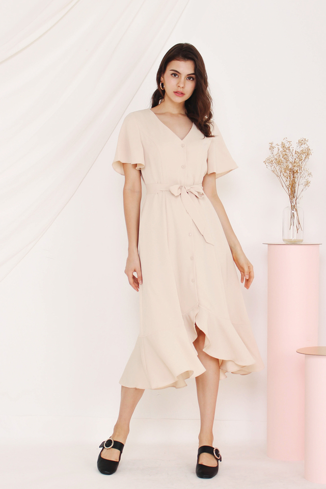 TESSA FRILL HEM DRESS ALMOND