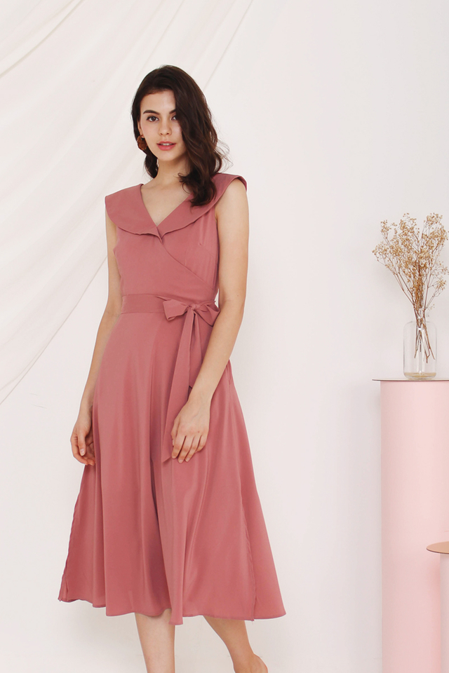 LEIGH WRAP MIDI DRESS ROSE