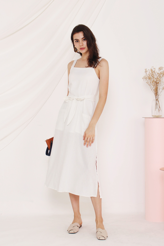 COLLEEN POCKET LINEN DRESS WHITE