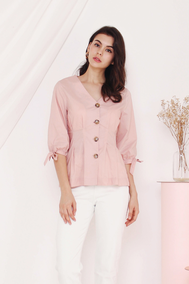 EVA PIN TUCK TOP PINK
