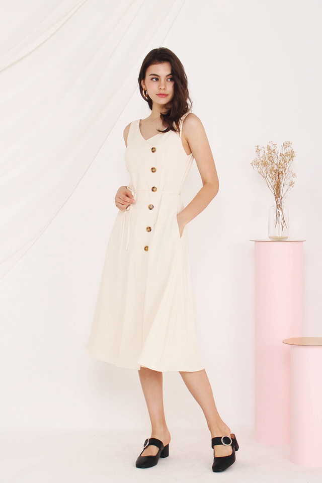 GERRA SIDE BUTTON DRESS ECRU