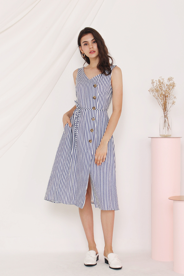 GERRA SIDE BUTTON DRESS STRIPE