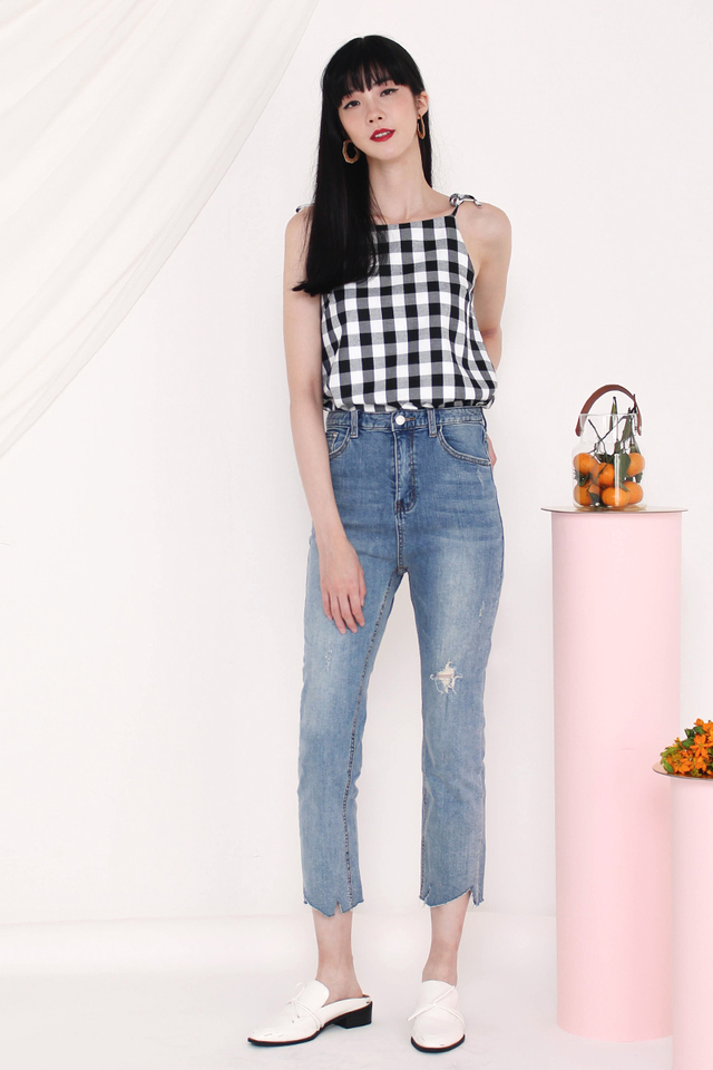 ARIANA TIE SHOULDER TOP GINGHAM