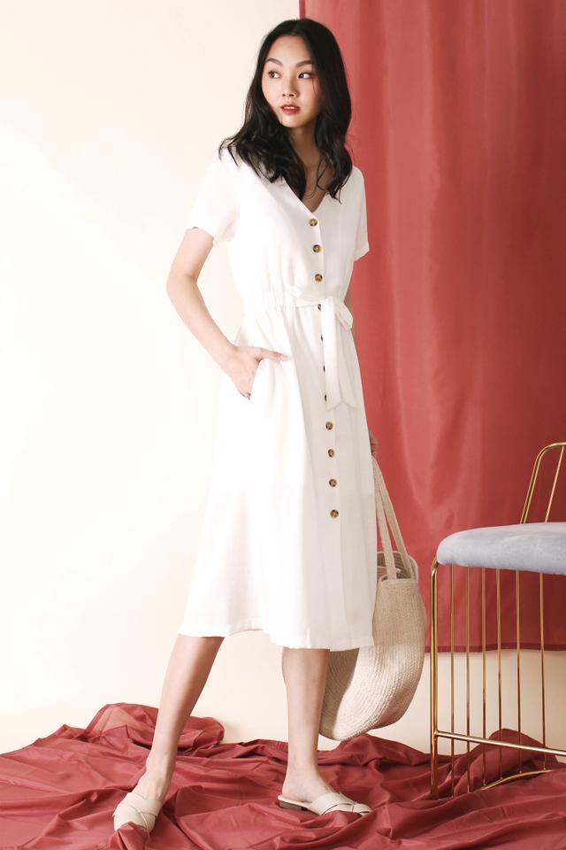 MELISSA TIE WAIST DRESS WHITE