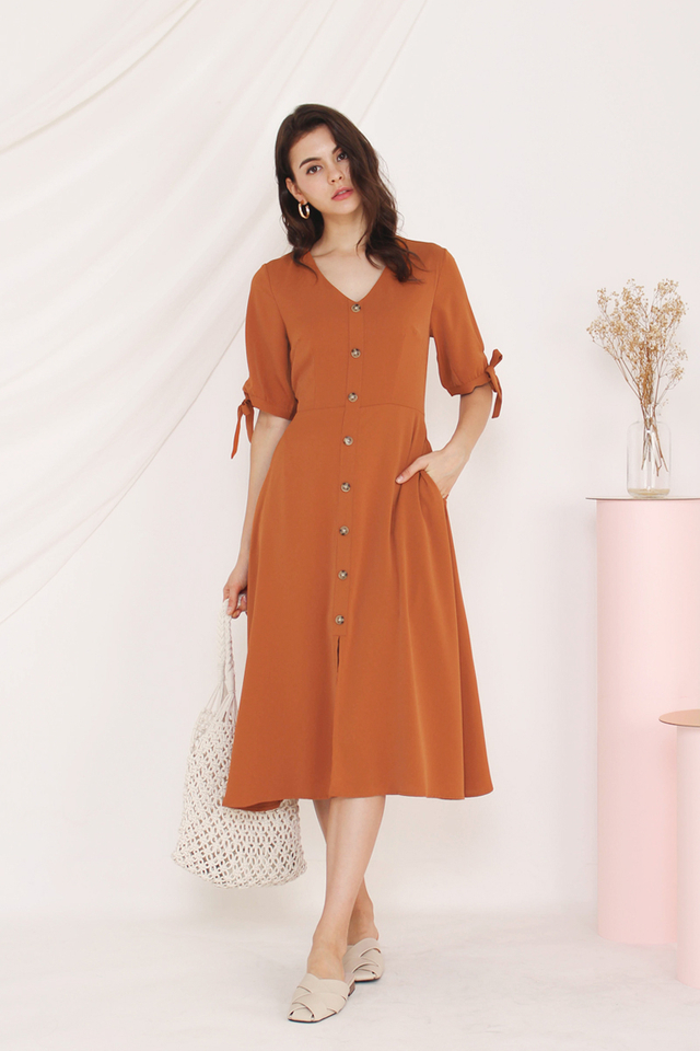 CHARLOTTE TIE SLEEVE DRESS SAFFRON