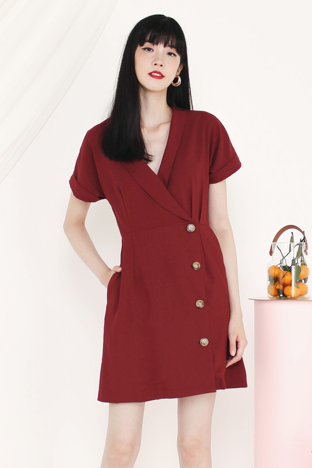 MADELYN TUX DRESS WINE
