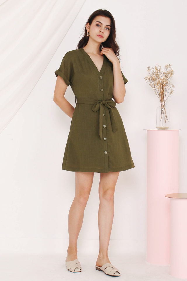 KATIE BUTTONDOWN DRESS MATCHA