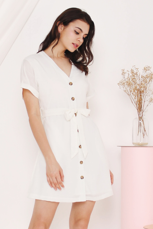 KATIE BUTTONDOWN DRESS WHITE