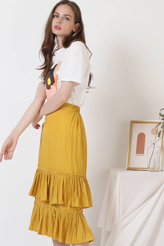 SAMMI PLEATED SKIRT MUSTARD