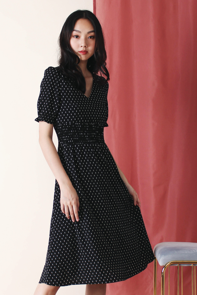 HELENA PRINTED DRESS BLACK