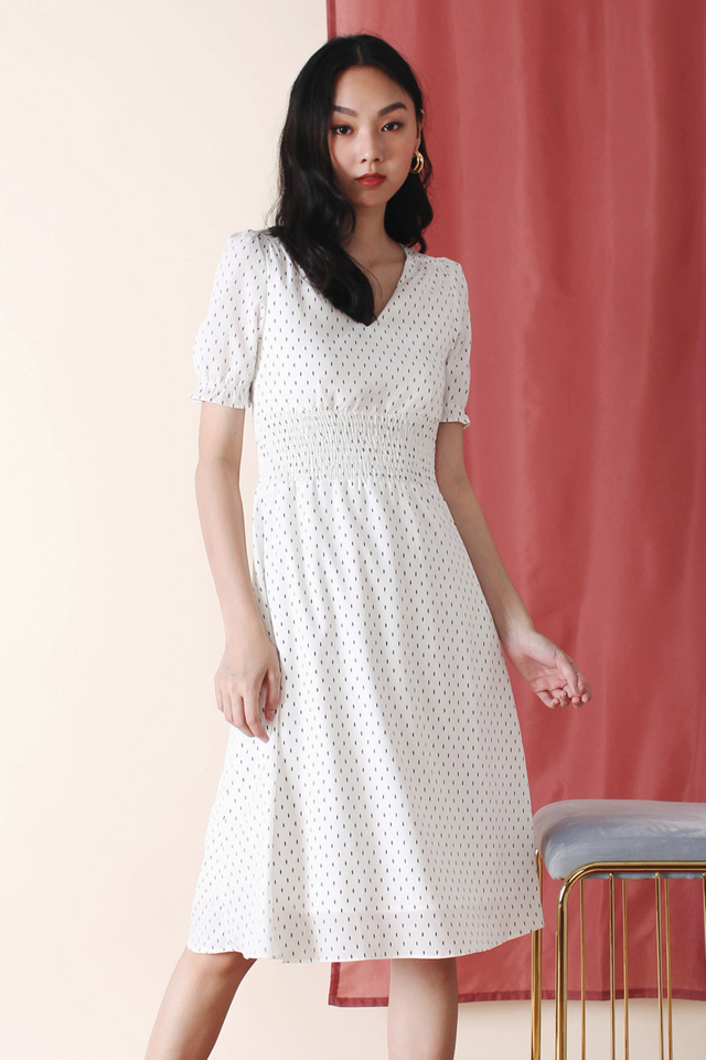 HELENA PRINTED DRESS WHITE