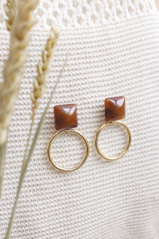 TORTOISE SHELL RING EARRINGS