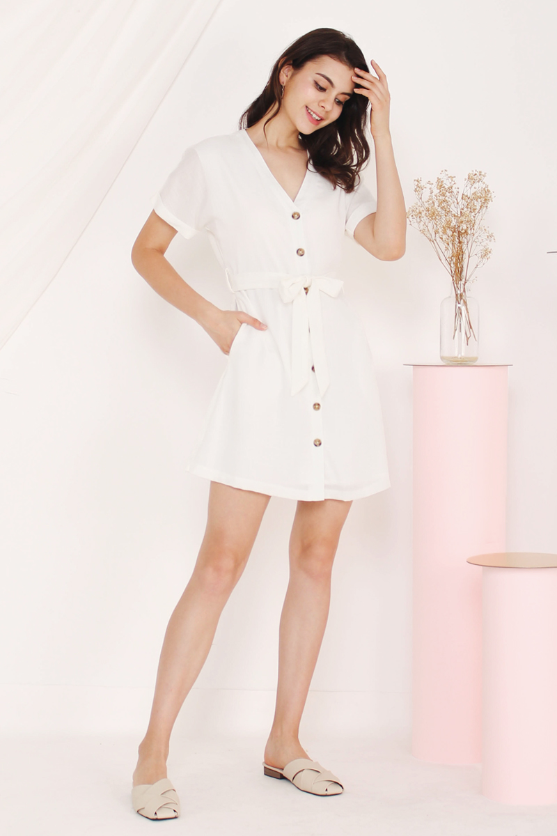 1078accfbf1 KATIE BUTTONDOWN DRESS WHITE