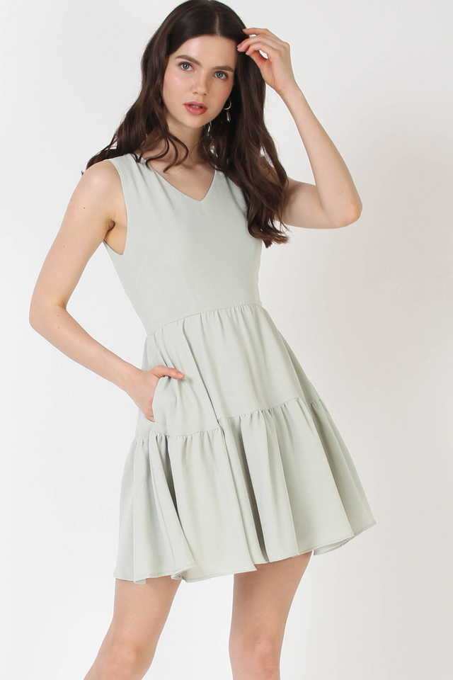 ANTHEA TIER DRESS SEAFOAM