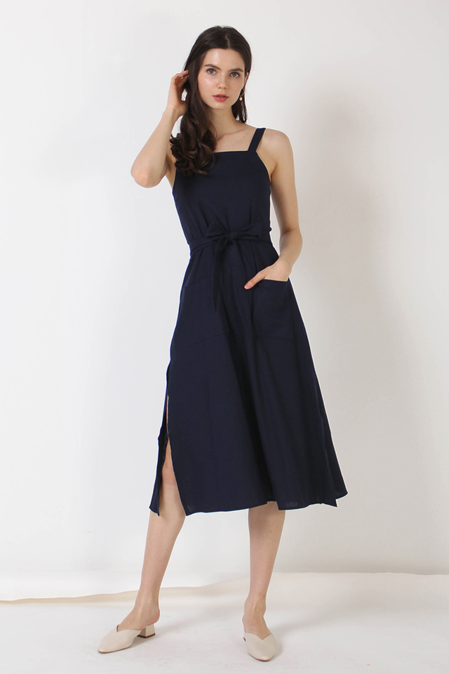 COLLEEN POCKET LINEN DRESS NAVY