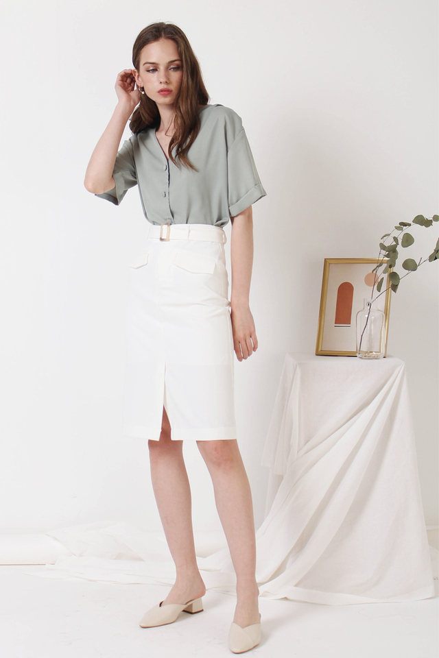 SHELBY PENCIL SKIRT WHITE