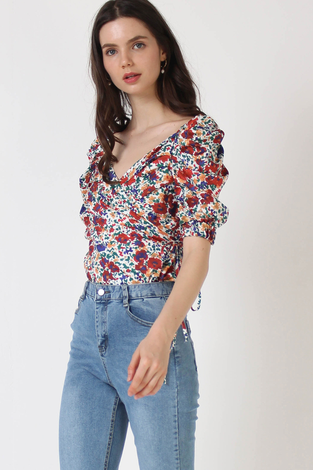HAZEL FLORAL WRAP TOP WHITE